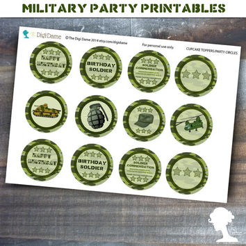 Party Printable Military Army Soldier Boot Camp Cupcake Toppers in Green Camouflage