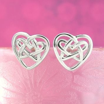 Celtic Heart with Star-Shaped Knot Earrings