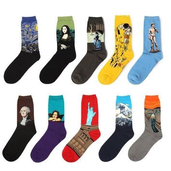 New Fashion 100% Cotton VanGogh Art Socks Of Mona Lisa Painting Famous Character Pattern For Women&Men