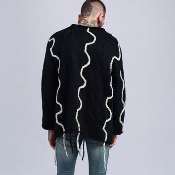 Winter Coats Sweaters Knitted Streamer Men Ribbons Sweater Male Thickening West Warm Sweater