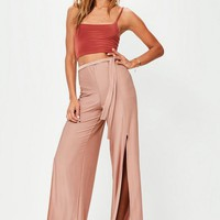Missguided - Pink Slinky Split Front Tie Waist Wide Leg Pants