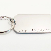 Dog Tag Keychains, Stamped Dog Tag, Stamped Keychain, Date Keychain, Initials Keychain, personalized keychain, FREE US SHIPPING
