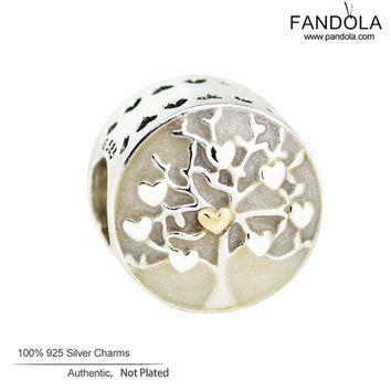 Family Tree Beads 925 Sterling-Silver-Jewelry Diy Tree of Hearts Charms Beads for Jewelry Making Fits Pandulaso Bracelets
