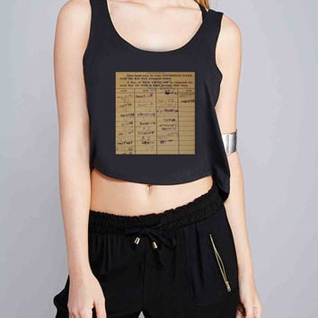 library date due for Crop Tank Girls S, M, L, XL, XXL *07*