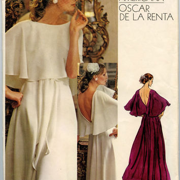 1970s Vintage Sewing Pattern Vogue 1140 Oscar De La Renta Misses Dress in Cocktail or Evening Lengths Bust 34 UNCUT