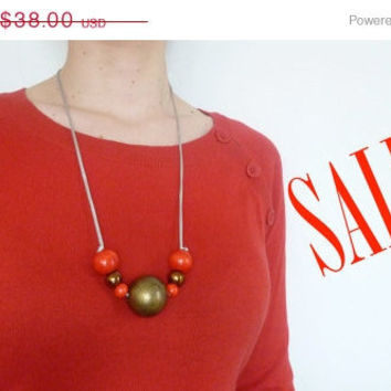ON SALE Milano Summer Fashion Necklace, CIJ, Red, Bronze, Statement, Wood, Metal, Summer, Boho, Large Necklace, Hippie, Giant beads. NK01
