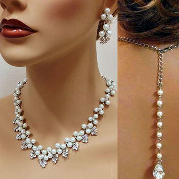 Bridal jewelry set, Wedding jewelry, back drop necklace earrings, Ivory pearl necklace, crystal necklace, bridesmaid jewelry set