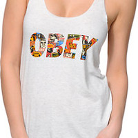 Obey Collage Heather White Tank Top