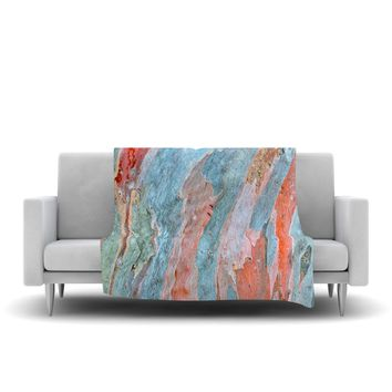 "Susan Sanders ""Beach Dreams"" Orange Blue Fleece Throw Blanket - Outlet Item"