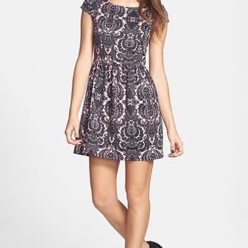 Socialite Print Skater Dress (Juniors) (Online Only) | Nordstrom