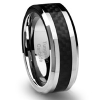 8MM Men's Tungsten Carbide Ring Wedding Band with Black Carbon Fiber Inlay (Available in Sizes 5 to 16)