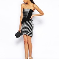 ASOS Stripe Cut About Peplum Dress