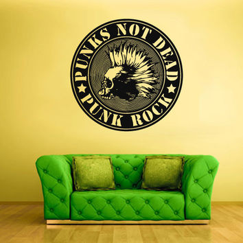 Wall Vinyl Sticker Decals Decor Art Bedroom Design Mural Design Punks Rock n Roll Emblem Logo Guitar (z1839)