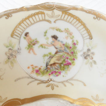 Antique French Provincial Hand Painted Crescent Boning Dish, Cottage Style, Shabby Chic, Rococo, Art Nouveau Inspired, Trinket Dish, 6812C