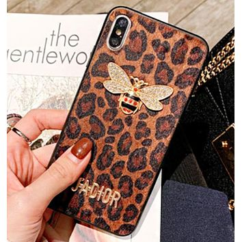 Dior Fashion New Letter Diamond Bee Women Men Leopard Print Protective Cover Phone Case