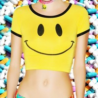Smiley Face Crop Top from ☯ harajuku alien ☯