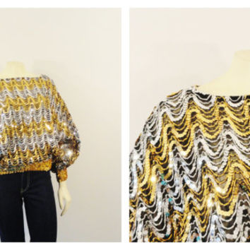 Vintage Top Shirt 70s Disco Sequin Batwing Semi Sheer Blouse Black Gold & Silver Size Large Modern M L XL