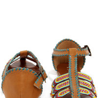 Coconuts Spirit Tan Multi Beaded Leather Sandals