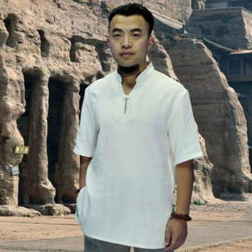 One Button White Short Sleeved Tai Chi Shirt
