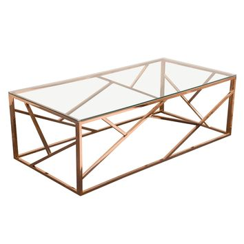Nest Rectangular Cocktail Table Rose Gold Finish