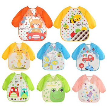 Cute Baby Bibs Cartoon Waterproof Unisex Baby Feeding Long Sleeve Apron Children Feeding Smock Bib Burp Clothes