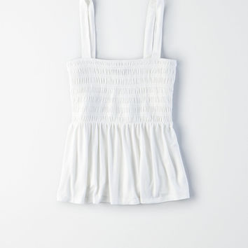 AE Smocked Babydoll Tank Top, Natural White