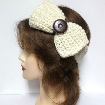 Women's ivory crochet large bow large brown button accent headband, ear warmer, ivory crochet bow button headband, gift