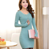 New Design Long Sweaters Autumn Winter Women Fashion Pullovers Jumper Fall 6 Solid Color O-neck Basic Knitted Sweater Dress