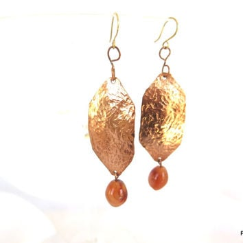 Long hammered copper earrings with agate dangles, artisan crafted jewelry