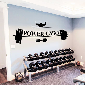 Wall Decal Quotes Sport Power Gym Barbell Dumbbell Design Vinyl Decals Gym Playroom Sports Hall Living Room Bedroom Home Decor 3889