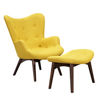 Aiden Chair Papaya Yellow -Walnut