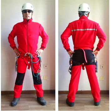 Red Color Fleece Super Warm Coverall Caving Suit Outdoor Adventure Men Long Sleeve Clothing
