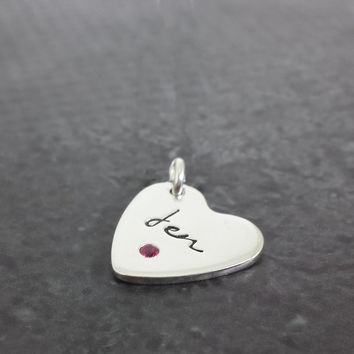 Personalized Heart Birthstone Charm