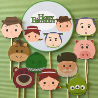 Tsum Tsum Disney inspired Toy Story, 10 Toy story cupcake toppers, Disney party, tsum tsum birthday, tsum tsum, Disney Toy Story toppers