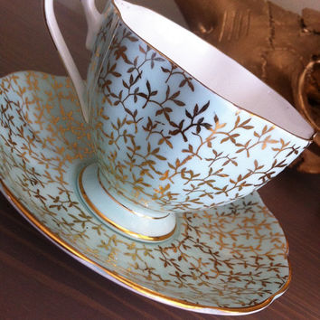 Antique Queen Anne seafoam tea cup and saucer, English bone china tea set, soft blueand gold teacup