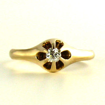 Rose Gold Diamond Ring in an Old Belcher Setting