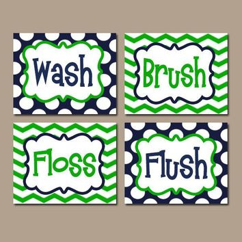 BOY Bathroom Wall Art, CANVAS or Prints Bathroom Rules Navy Blue Green Wash Brush Floss Flush Choose Colors Chevron Polka Dots Set of 4