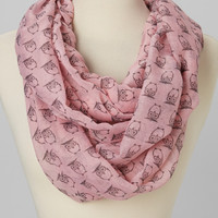 Pink Owl Infinity Scarf