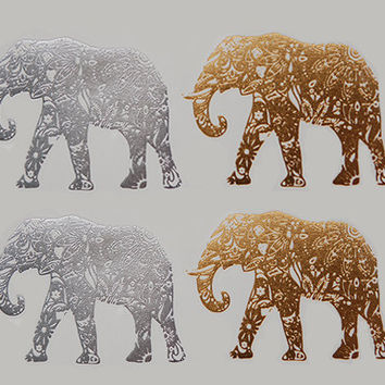 Metallic Temporary Tattoo, Metallic Tattoos, Elephant Tattoo, Silver Tattoo