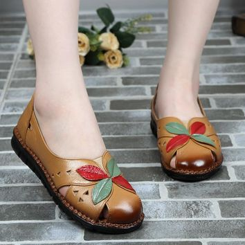 Flower Patchwork Leather Round Toe Casual Comfortable Flats
