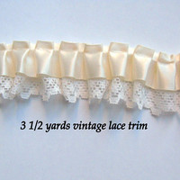 Satin Ruffled Lace Trim by the yard cream beige 3 1/2 yards