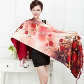 100% Silk Satin smooth soft Long Scarf