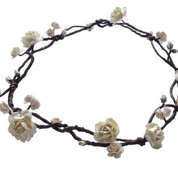 Boho Floral Crown Circlet Hair Vine with ivory flowers roses - Beach Pagan Wedding