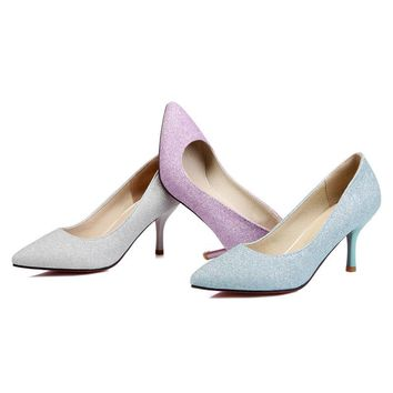 Shimmering pointed toe sequined shoes  ~3 colors!