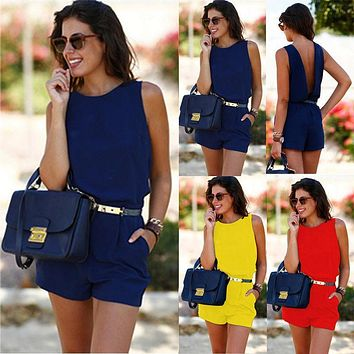 Solid Bright Color Women Summer Bodysuit Casual  Sleeveless Playsuit Sexy V Back Clubwear Evening Party Jumpsuit