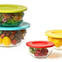 Glasslock Large Nesting Mixing Bowls with Colored Lids (4-, 6-, or 8-Piece)