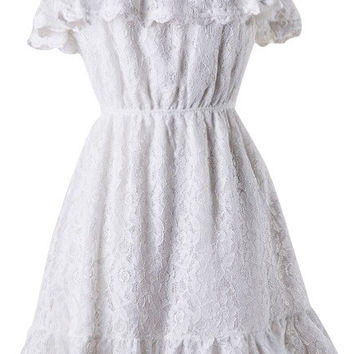 Off the Shoulder Ruffle Lace Dress