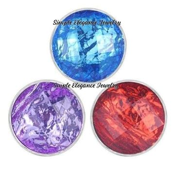 Acrylic Faceted Snap for Snap Charm Jewelry 20mm Several Colors to Choose From)