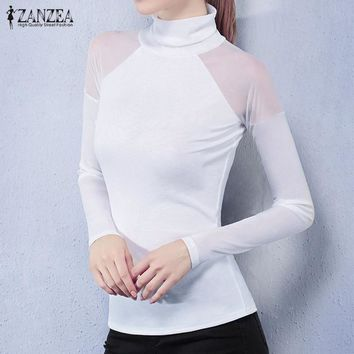 Turtle Neck Long Sleeve Casual Tops Mesh Patchwork