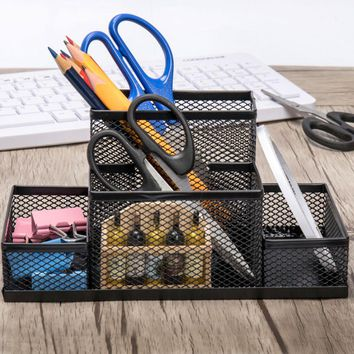 Metal Office Desk Stationery Organizer Pen Holders Multifunctional